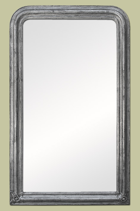 Grand miroir d coration argent patin for Grand miroir
