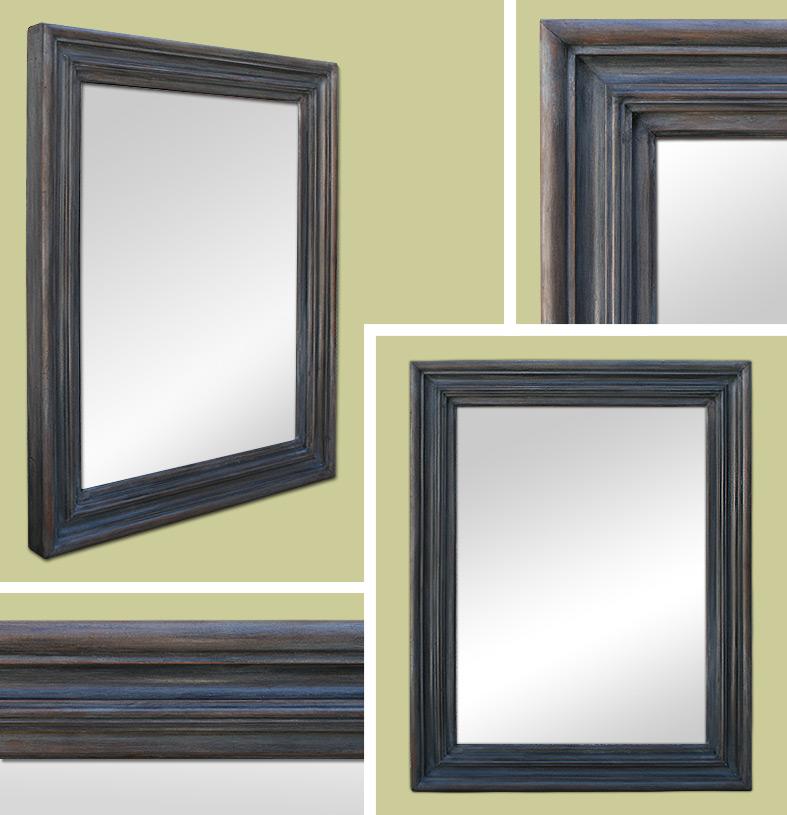 Miroir d coration bois patine gris ardoise for Miroir deco bois