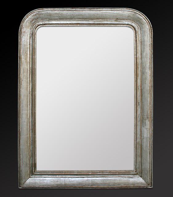 Grand miroir d co louis philippe for Miroir gris argent